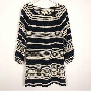 Sea New York black & white stripe shift silk dress
